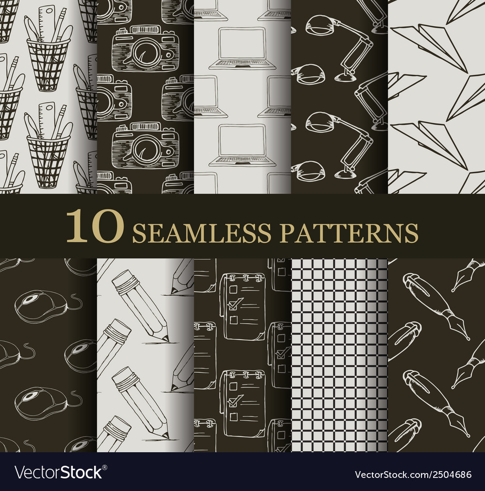 Set of 10 seamless business patterns vector   Price: 1 Credit (USD $1)
