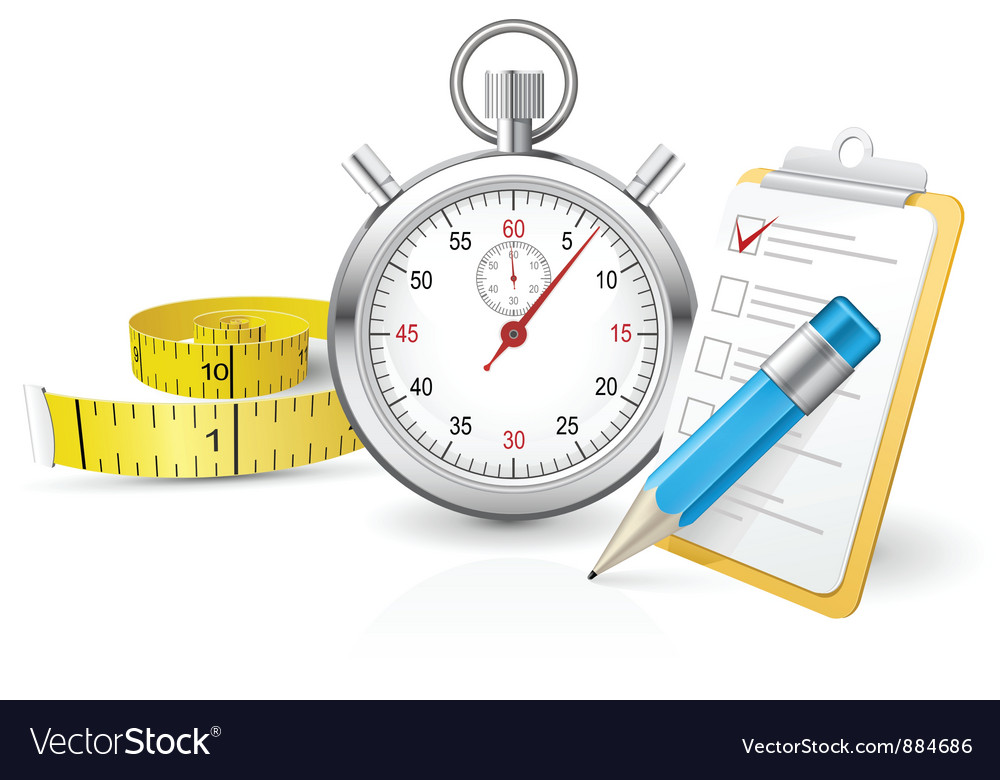 Stopwatch with clipboard and tape measure vector | Price: 3 Credit (USD $3)
