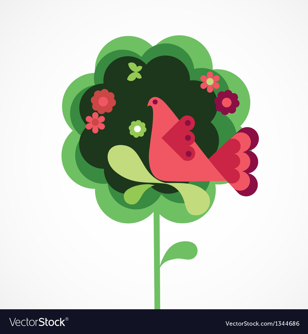 Whimsy flower tree and bird vector | Price: 1 Credit (USD $1)