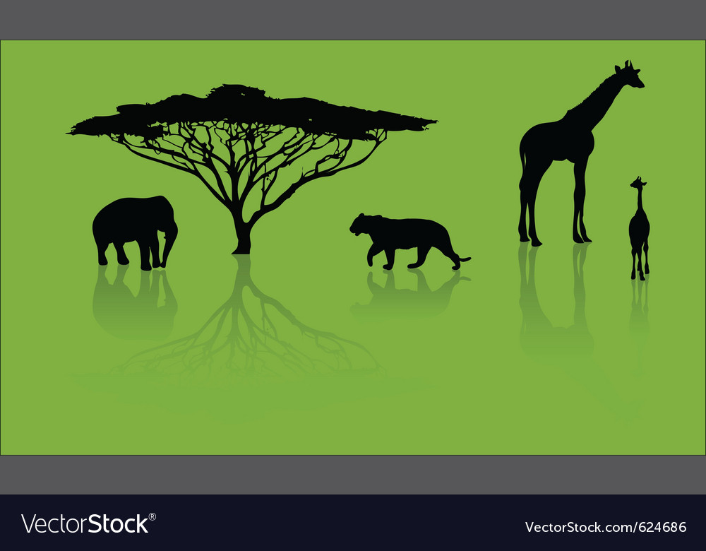 Zoo silhouettes vector | Price: 1 Credit (USD $1)