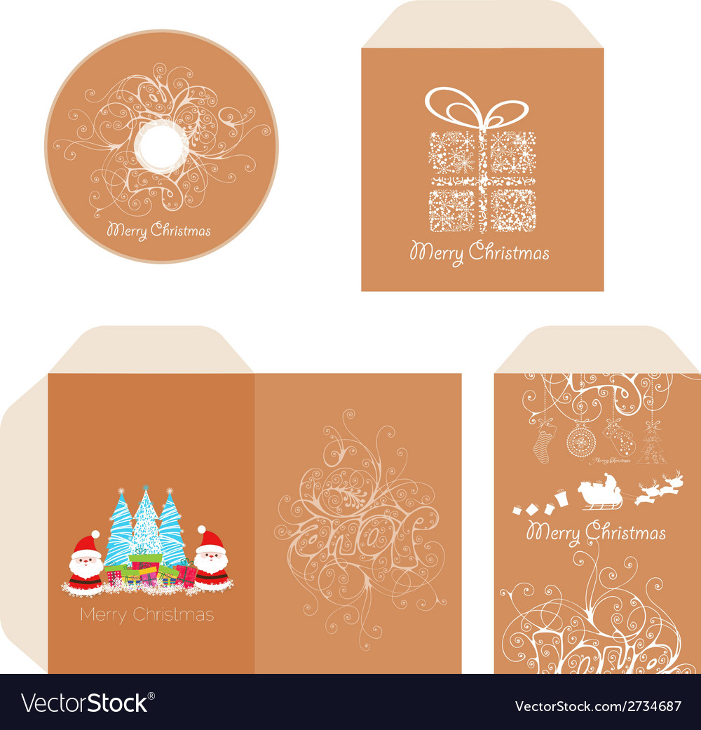 Brand identity merry christmas disc with packaging vector | Price: 1 Credit (USD $1)