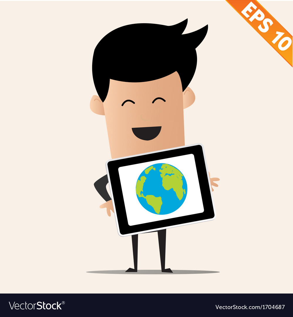 Business man with tablet pc - - eps10 vector | Price: 1 Credit (USD $1)