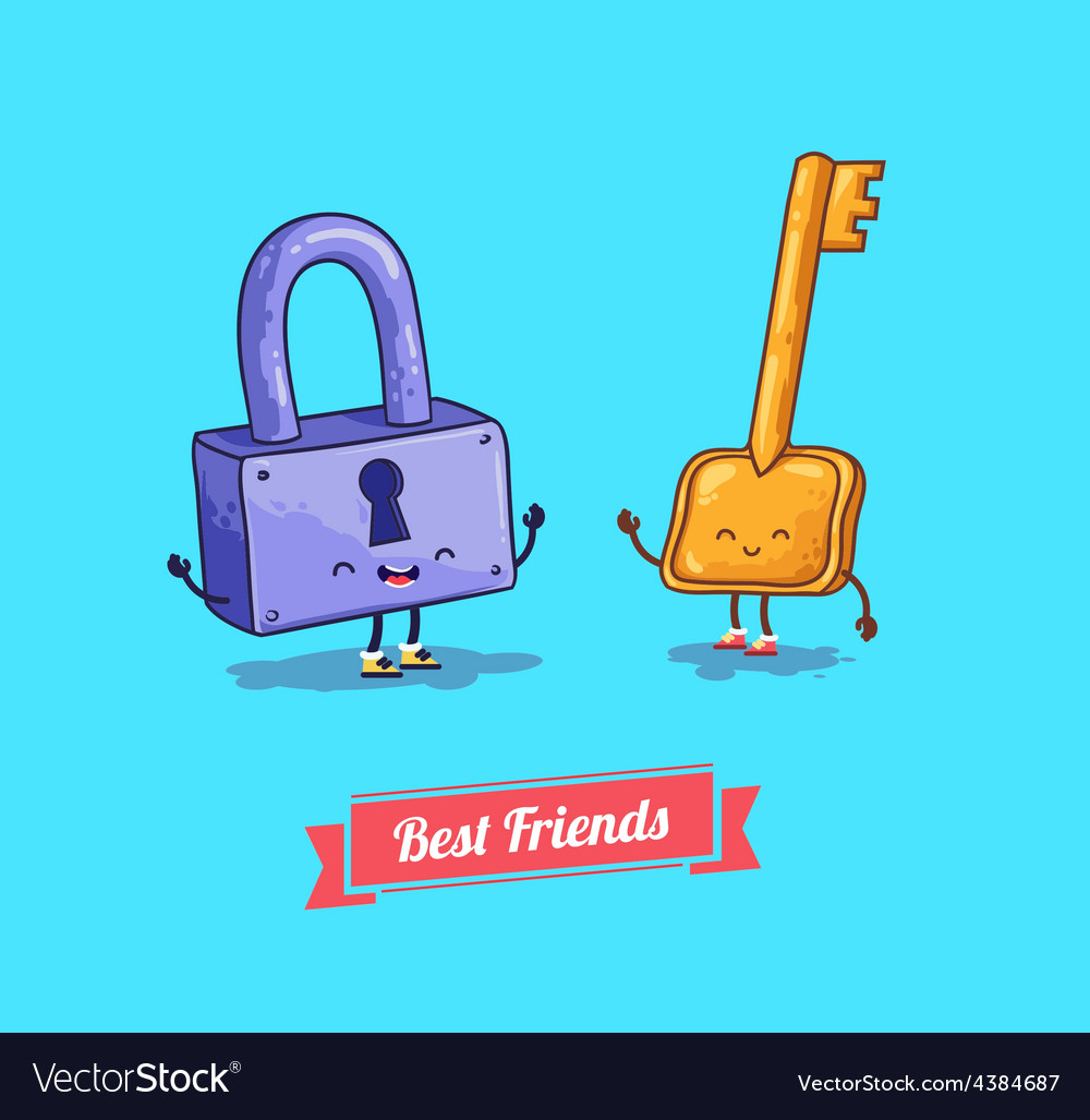 Cartoon protection security lock and key vector