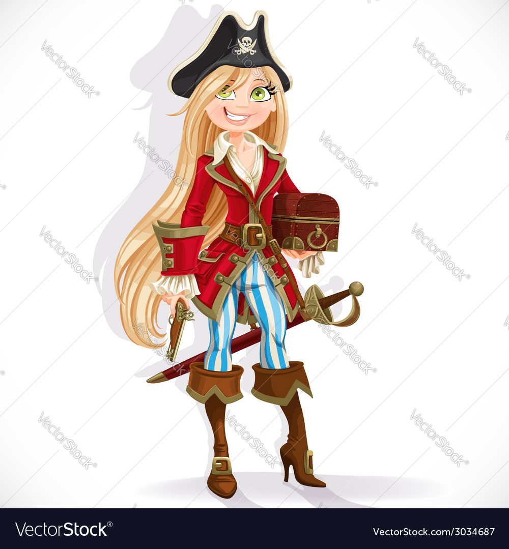 Cute blond pirate girl with cutlass vector | Price: 3 Credit (USD $3)