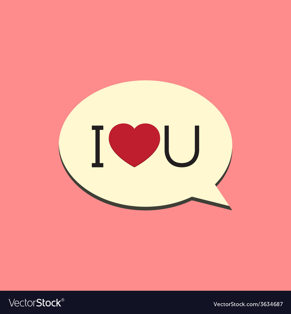 I love you speech bubble vector | Price: 1 Credit (USD $1)