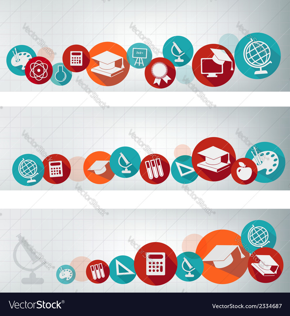 Set of education banners with icons vector | Price: 1 Credit (USD $1)