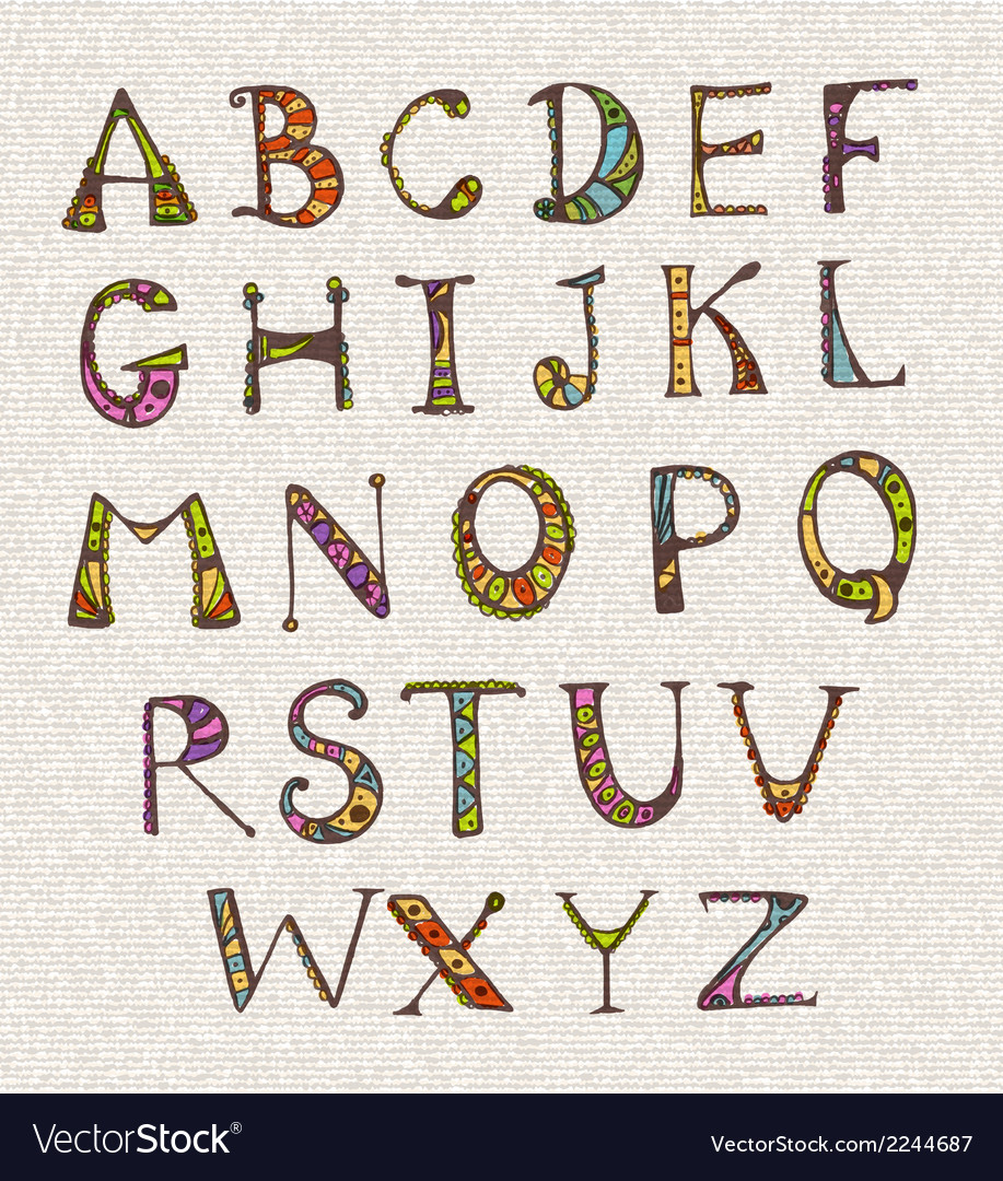 Set with color hand written abc letters vector   Price: 1 Credit (USD $1)