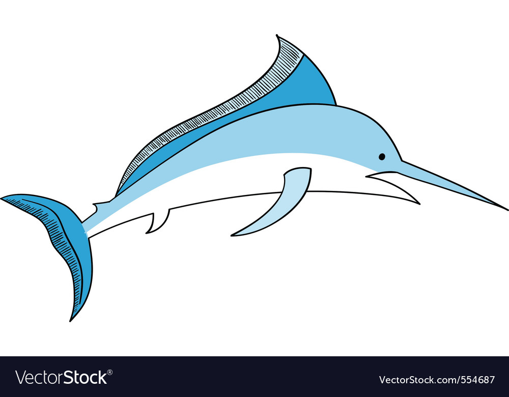 Simple swordfish isolated on the white vector | Price: 1 Credit (USD $1)