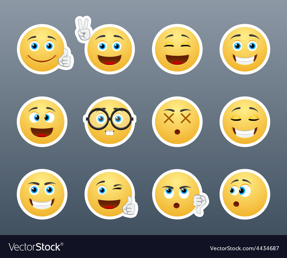 Stickers with emotions vector | Price: 1 Credit (USD $1)