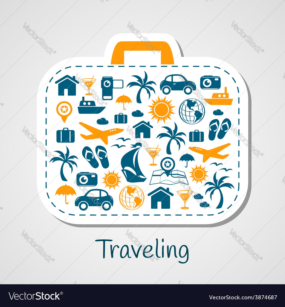 Travel holiday suitcase paper cut vector | Price: 1 Credit (USD $1)