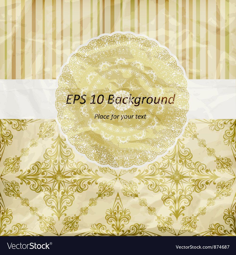 Vintage pattern golden napkin on floral and stripe vector | Price: 1 Credit (USD $1)