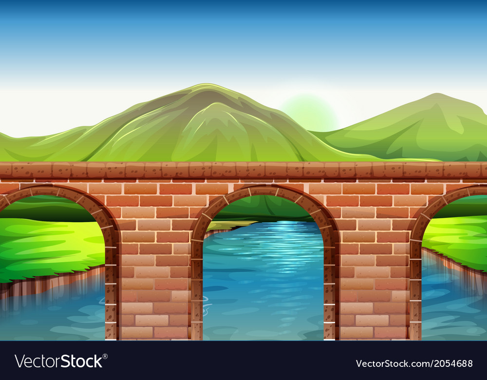 A bridge across the mountains vector | Price: 1 Credit (USD $1)