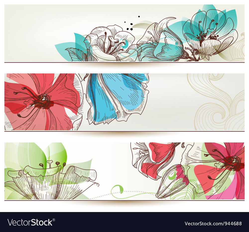 Floral banners vector | Price: 3 Credit (USD $3)