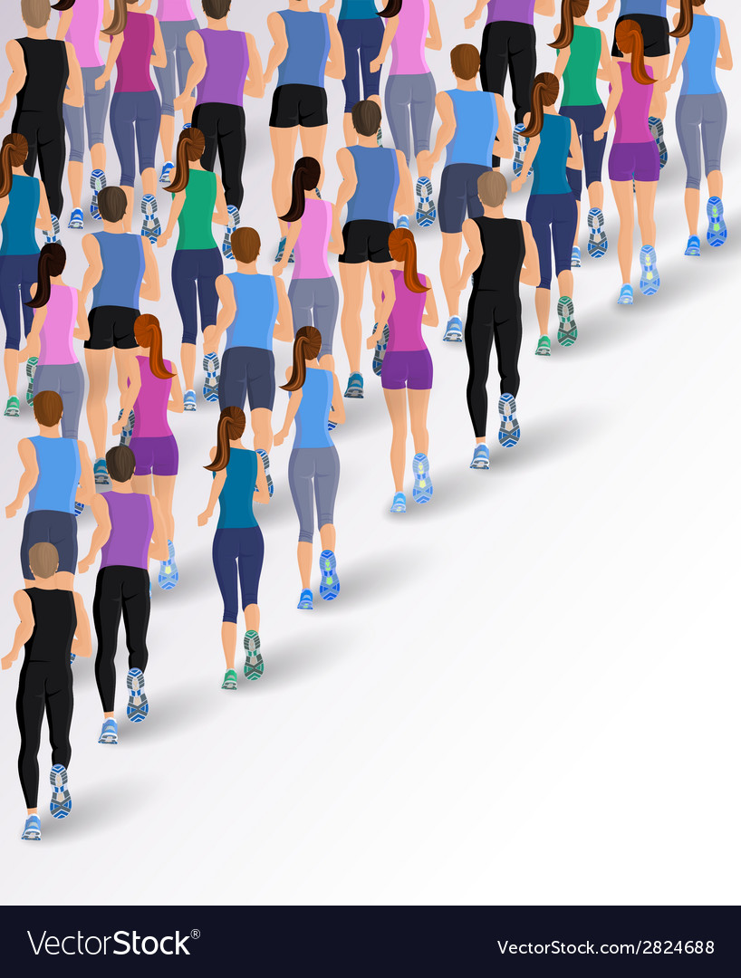 Group running people vector | Price: 1 Credit (USD $1)