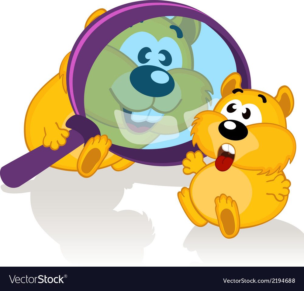 Hamster and magnifying glass vector | Price: 1 Credit (USD $1)