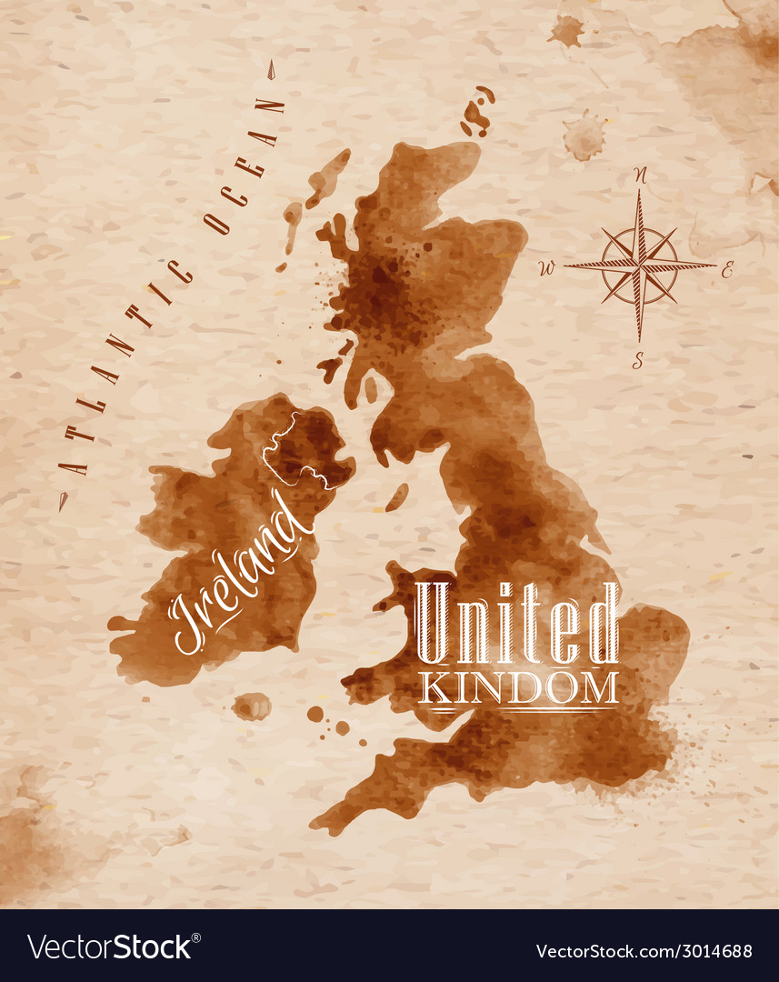 Map united kingdom and scotland retro vector | Price: 1 Credit (USD $1)