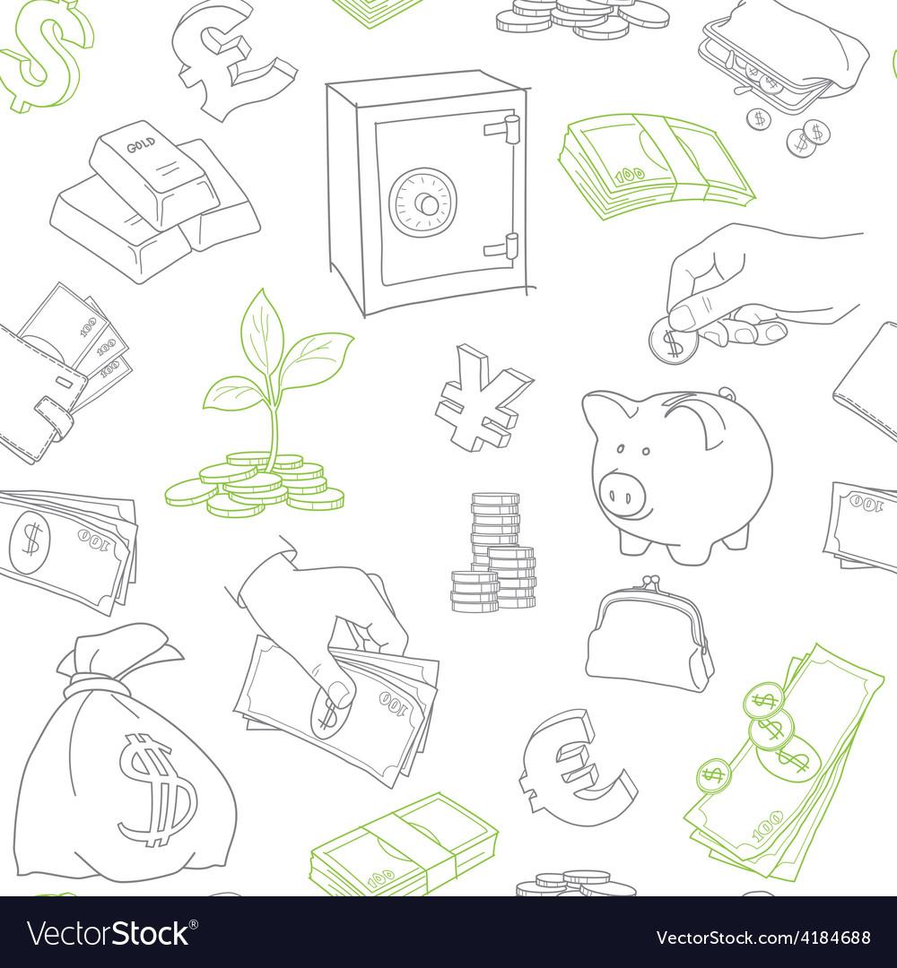 Money symbols doodle sketch seamless vector | Price: 1 Credit (USD $1)