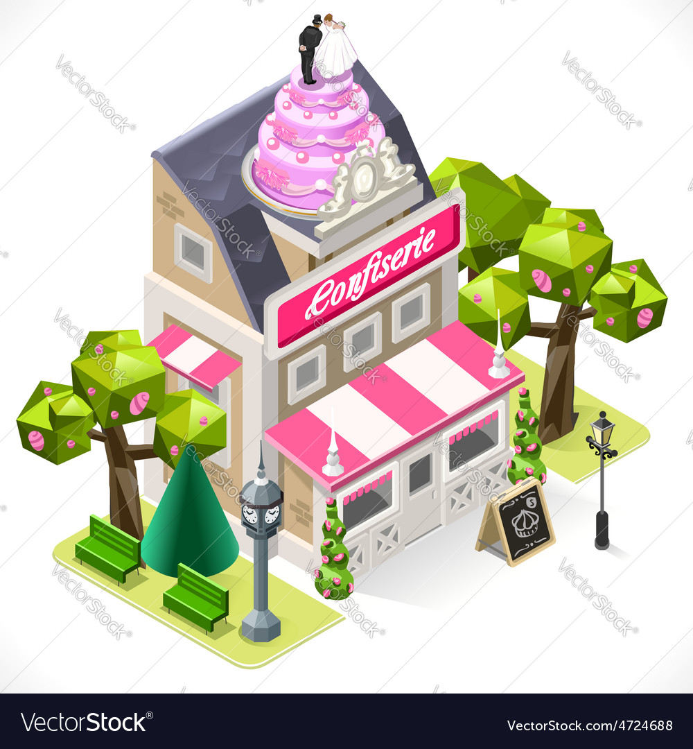 Pastry shop city building 3d isometric vector | Price: 1 Credit (USD $1)
