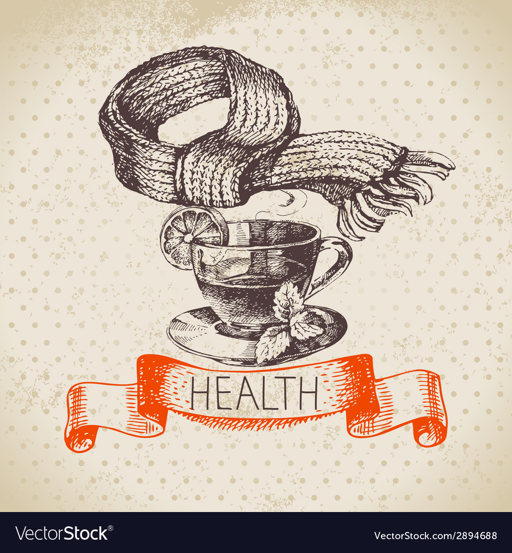 Sketch healthy and medical background vector | Price: 1 Credit (USD $1)