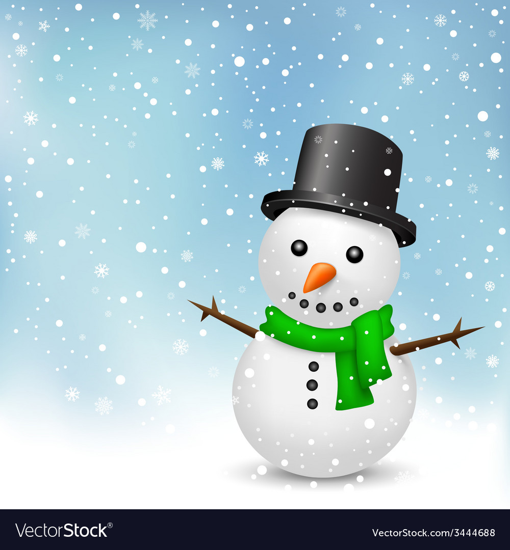 Snowman on snow background vector | Price: 1 Credit (USD $1)