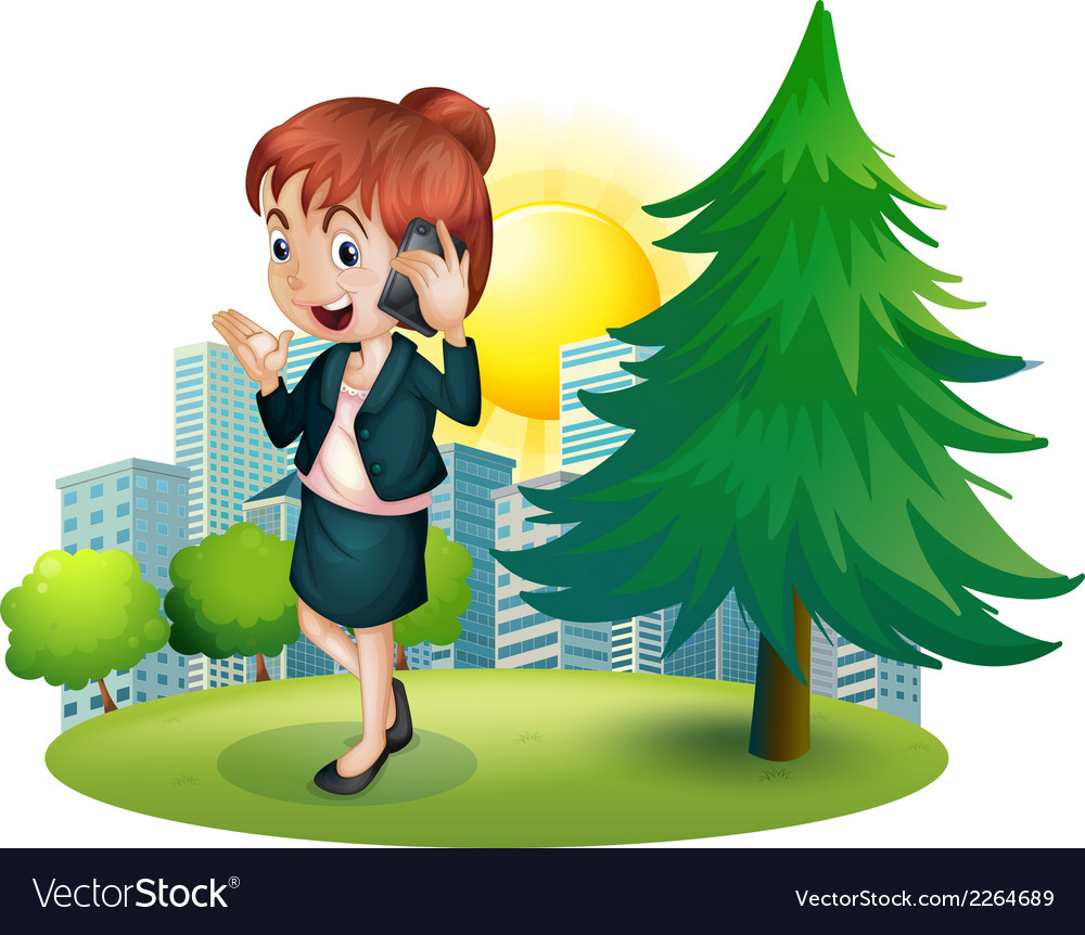 A businesswoman using a cellphone vector | Price: 1 Credit (USD $1)
