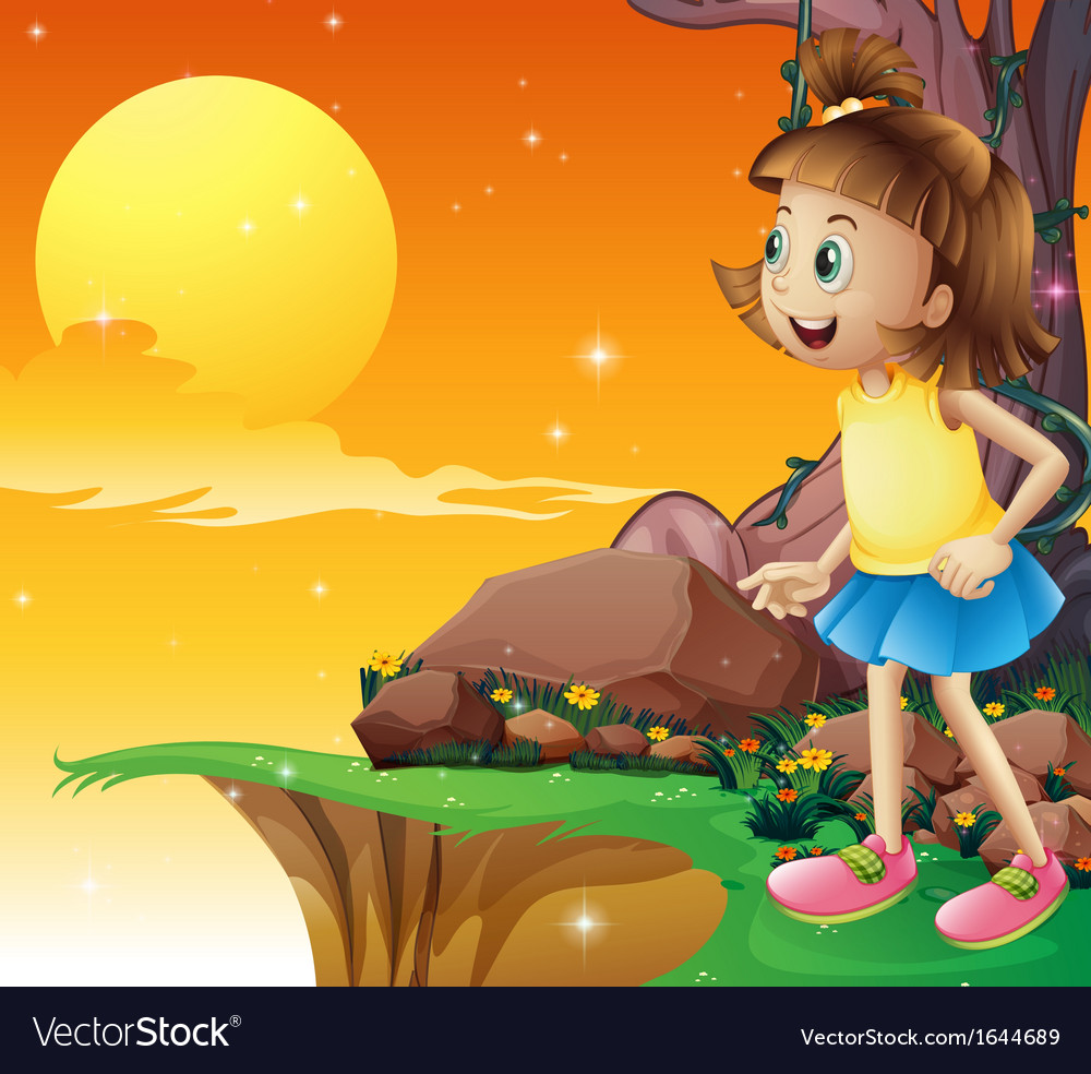 A young girl amazed by the sky vector | Price: 3 Credit (USD $3)