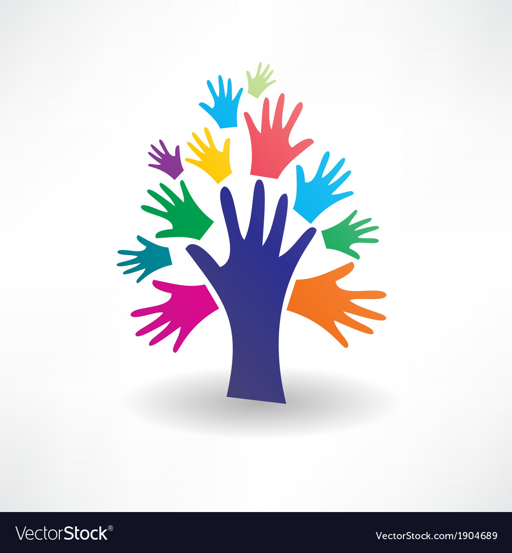 Abstract tree of human hands icon vector | Price: 1 Credit (USD $1)