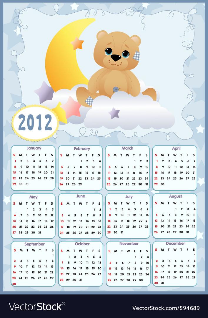 Babys calendar for 2012 vector   Price: 1 Credit (USD $1)