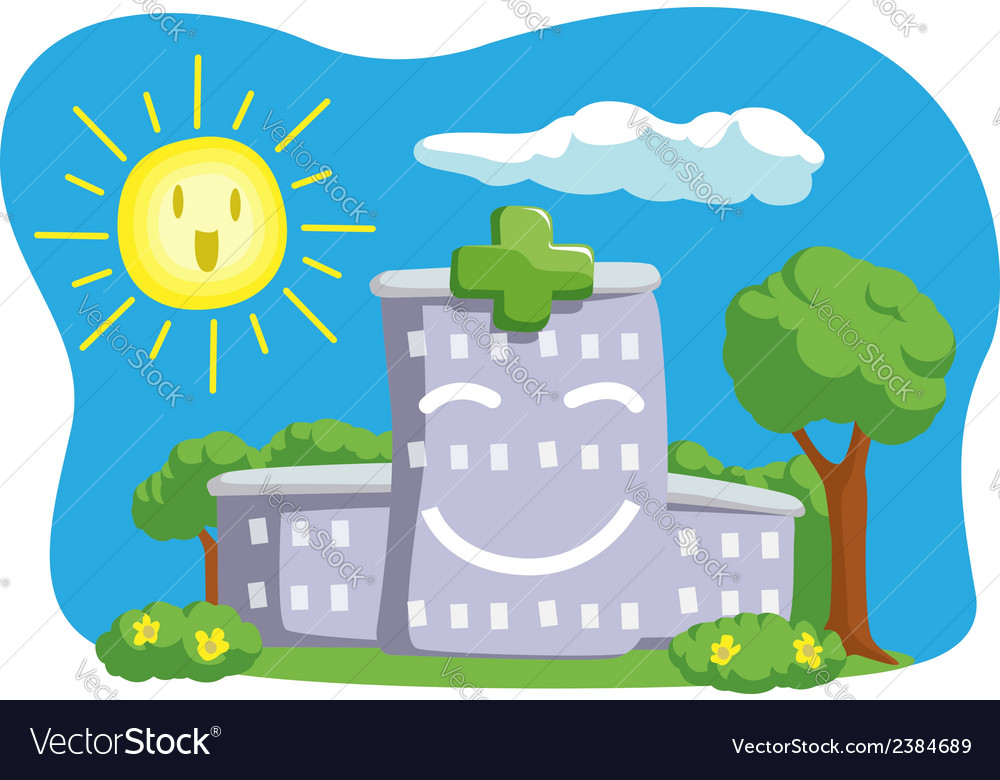 Cartoon of funny hospital building vector | Price: 1 Credit (USD $1)