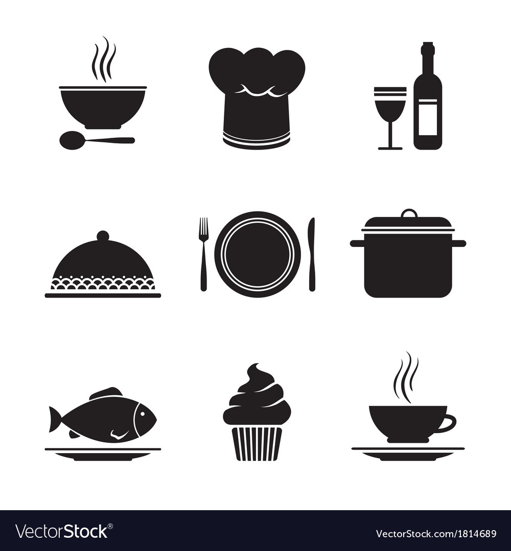 Collection of restaurant design elements vector | Price: 1 Credit (USD $1)