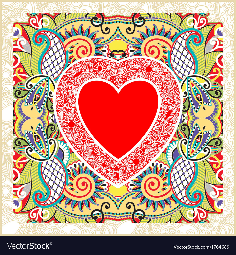 Hand draw ornate valentin day card with heart vector | Price: 1 Credit (USD $1)