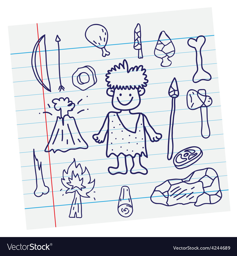 Outline image stone age cartoon vector | Price: 1 Credit (USD $1)