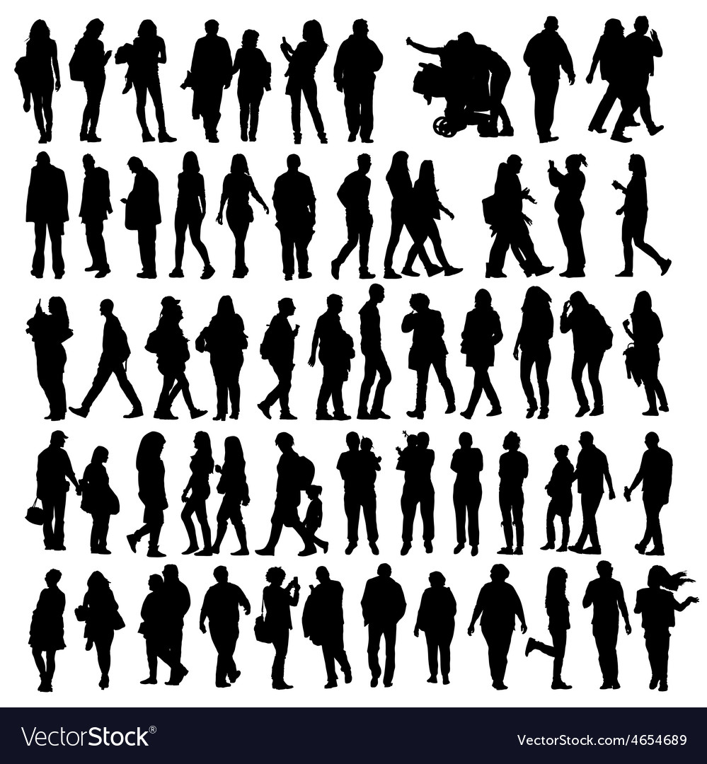People set silhouette vector | Price: 3 Credit (USD $3)