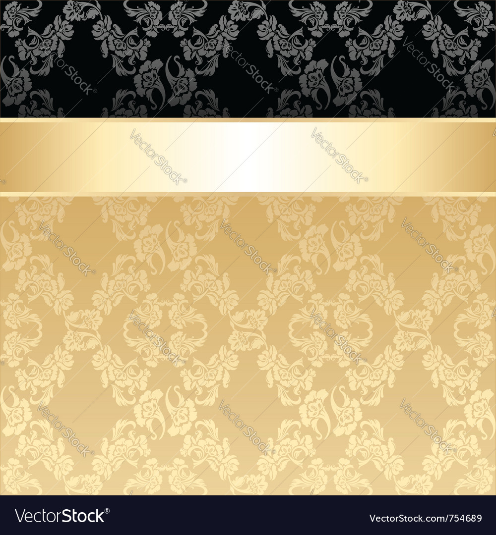 Seamless pattern floral decorative background gold vector | Price: 1 Credit (USD $1)