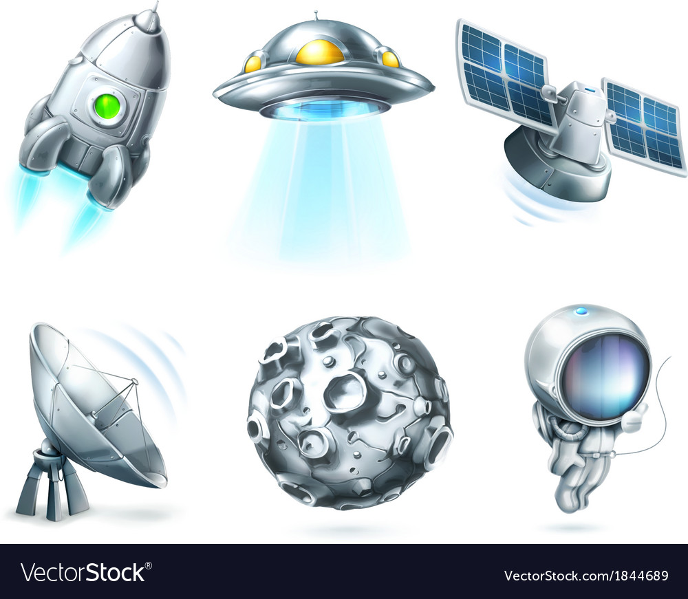 Space icon set on white vector | Price: 1 Credit (USD $1)