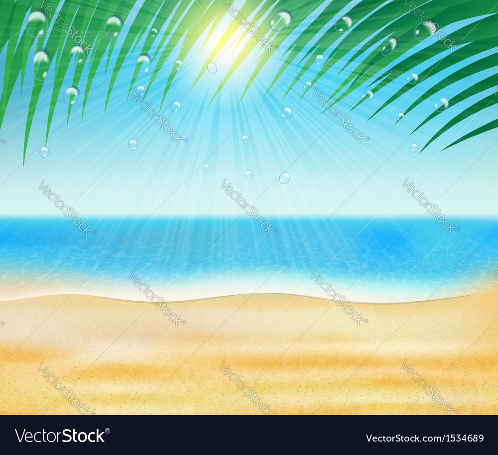 Summer sea beach with palm trees vector | Price: 1 Credit (USD $1)