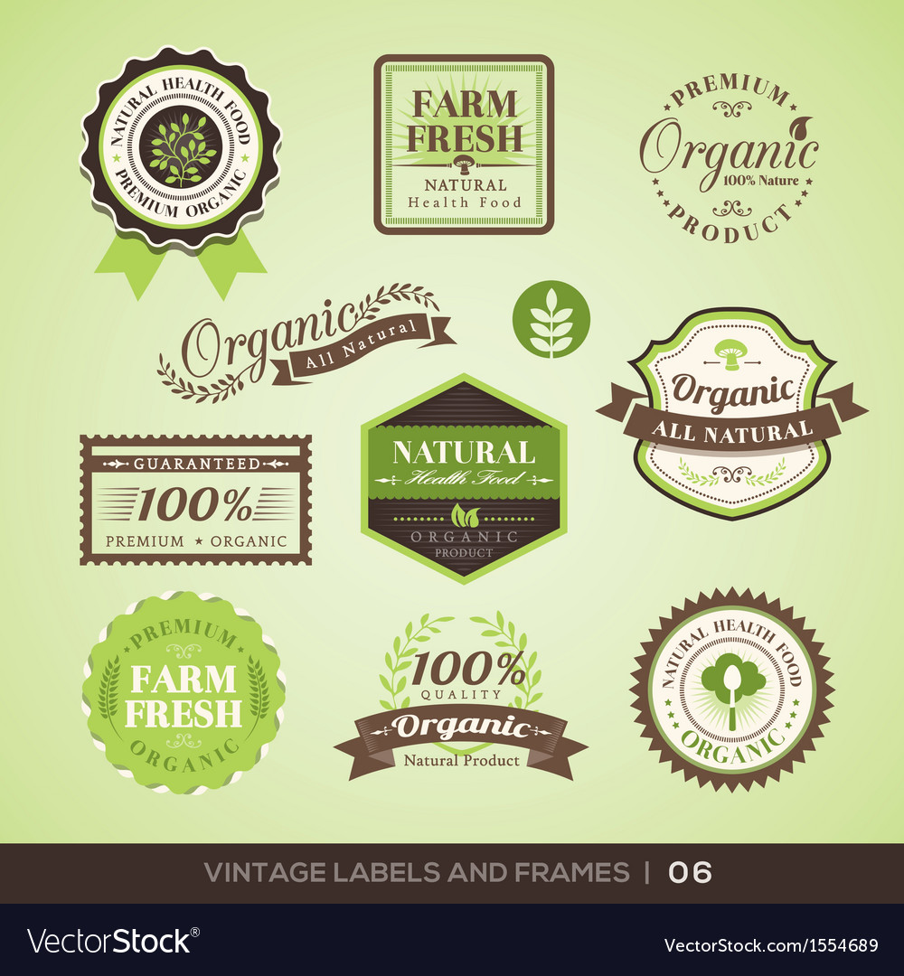 Vintage fresh organic product labels and frames vector | Price: 1 Credit (USD $1)