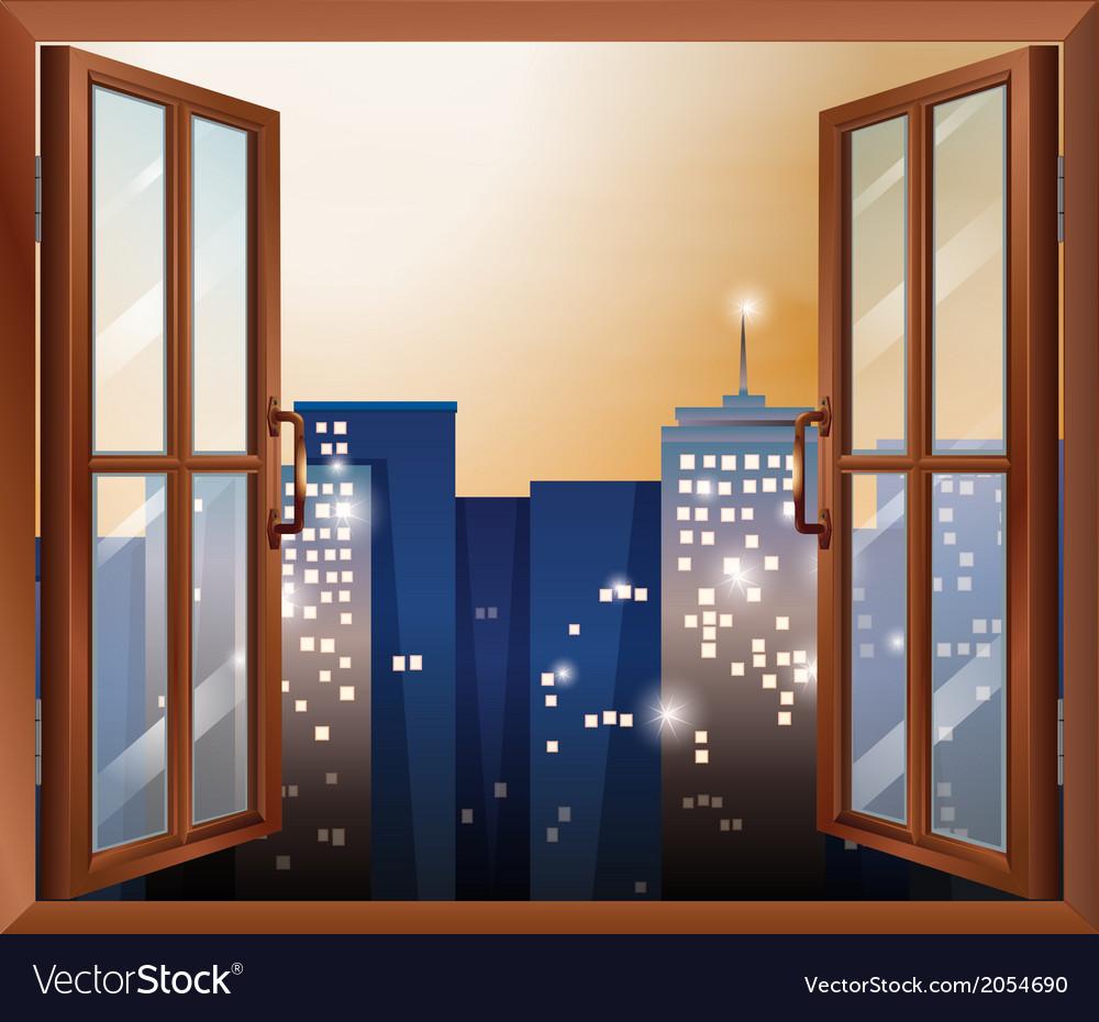An open window across the city buildings vector | Price: 1 Credit (USD $1)