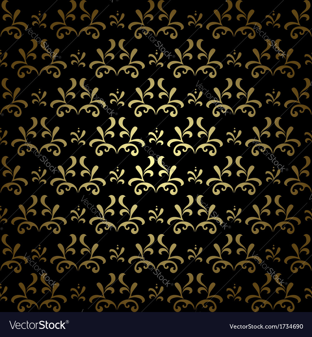 Black and gold seamless pattern - vintage vector | Price: 1 Credit (USD $1)