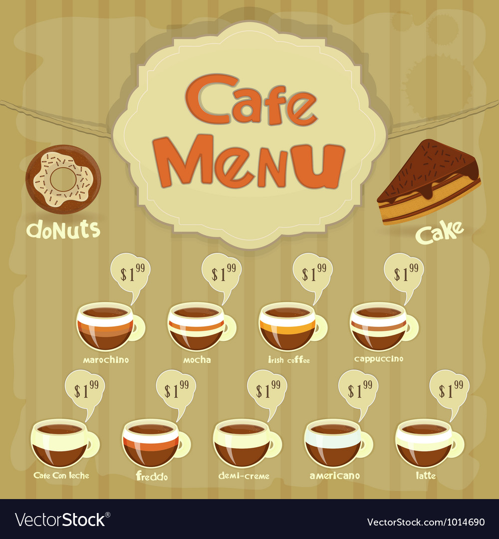 Cafe menu coffee vector | Price: 1 Credit (USD $1)