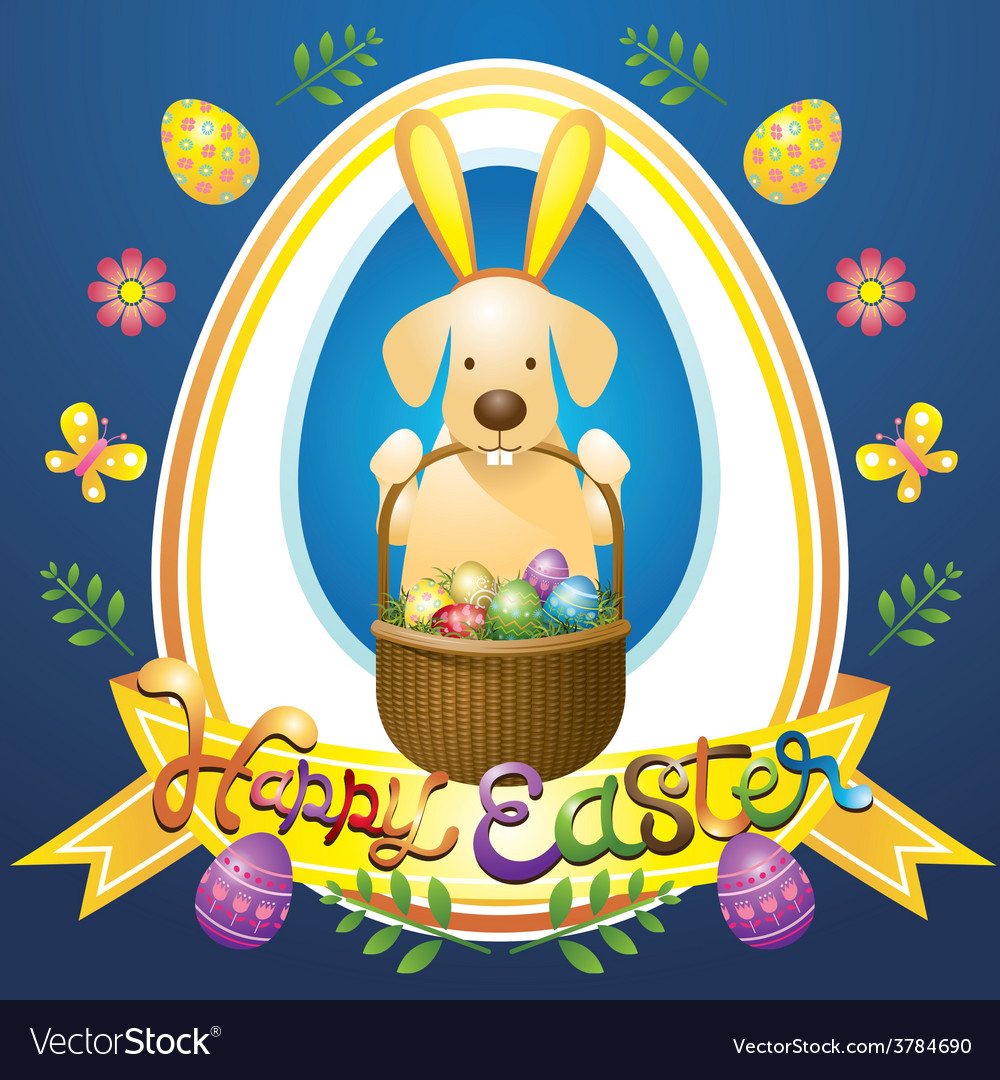 Easter heading label with labrador dog as bunny vector | Price: 3 Credit (USD $3)