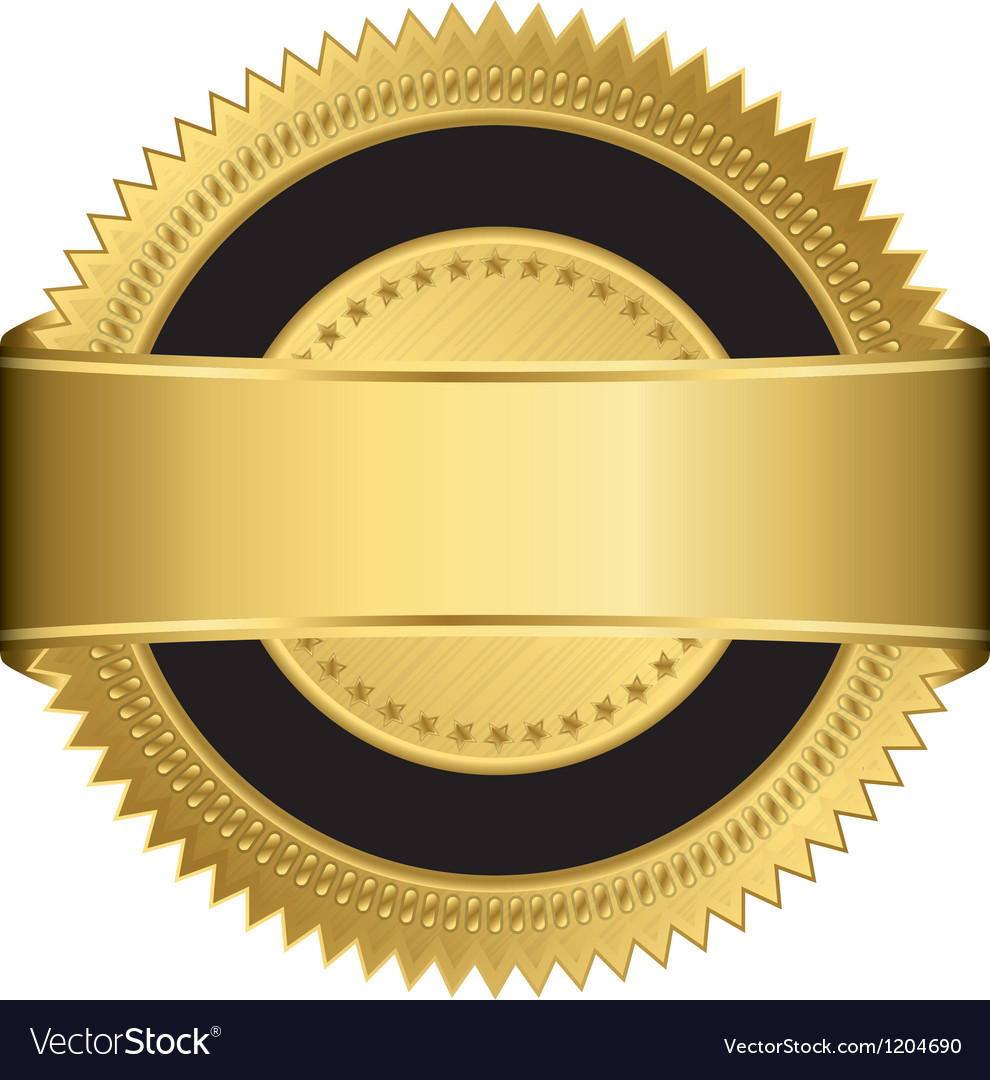 Golden blank label with golden ribbon vector | Price: 1 Credit (USD $1)
