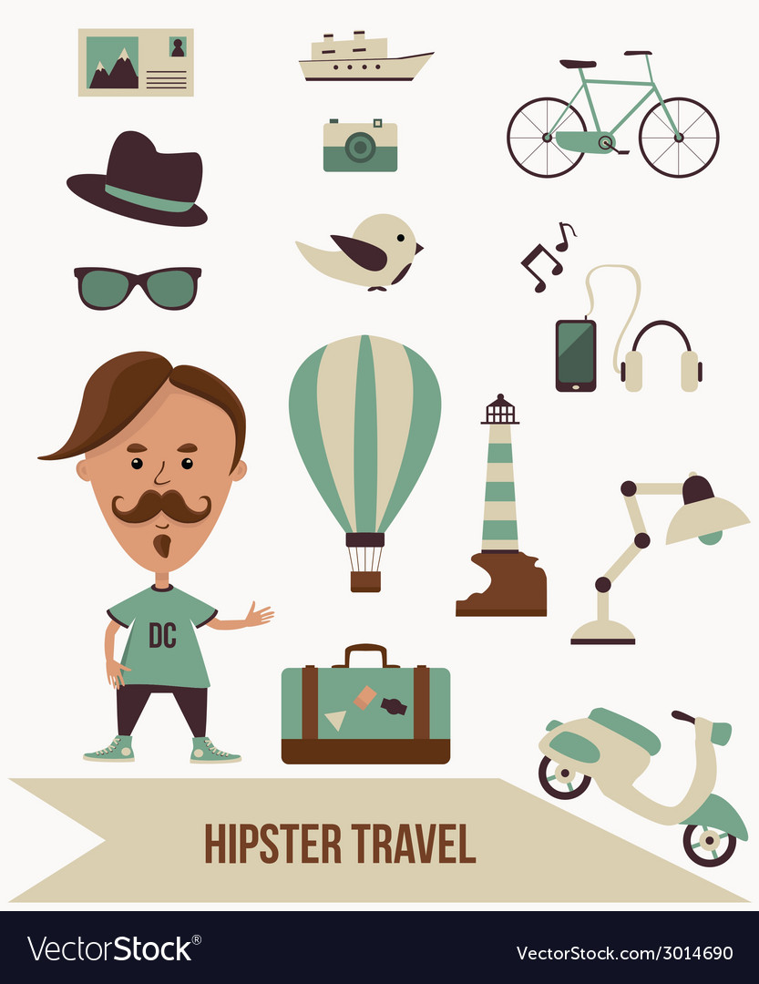 Hipster travel set vector | Price: 1 Credit (USD $1)