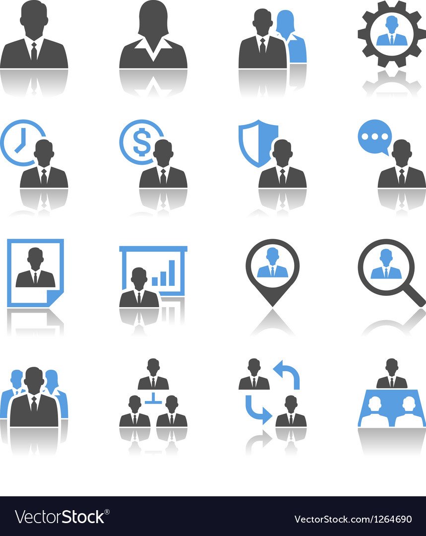Human resource management icons reflection vector | Price: 1 Credit (USD $1)