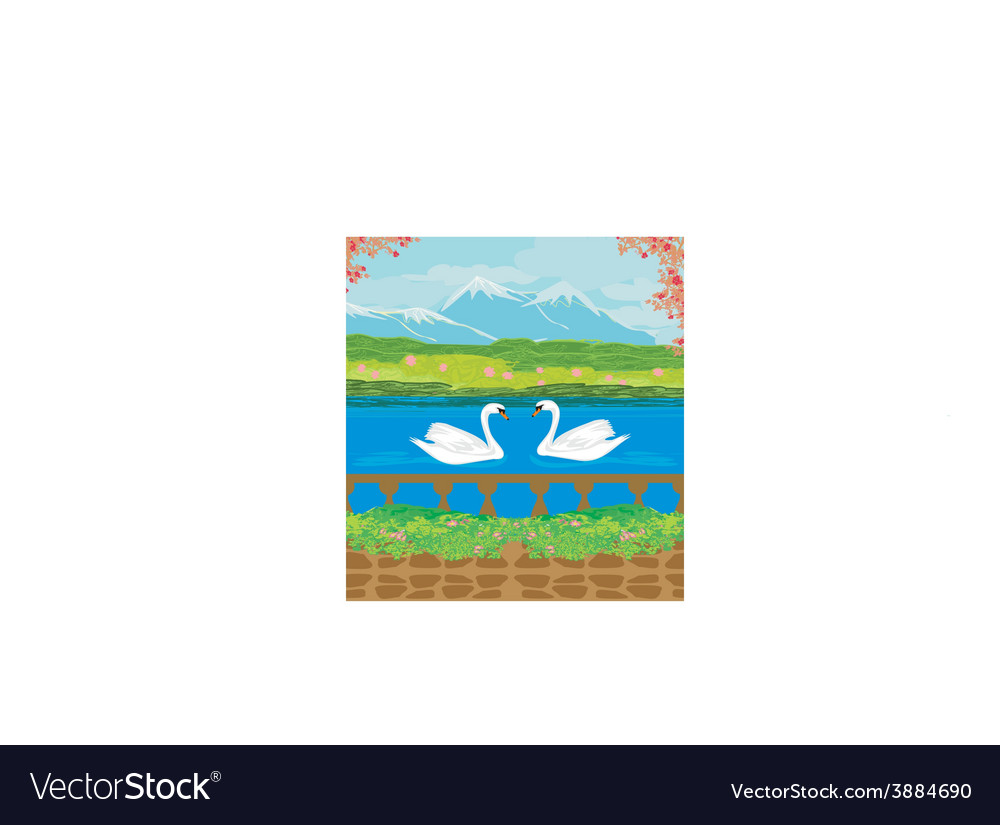 Landscape with mountains and swans on the lake vector | Price: 1 Credit (USD $1)