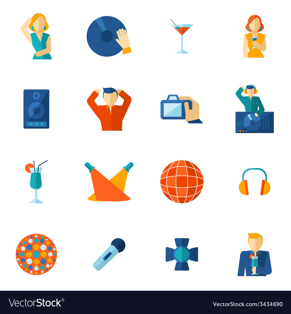 Night club icon flat vector | Price: 1 Credit (USD $1)