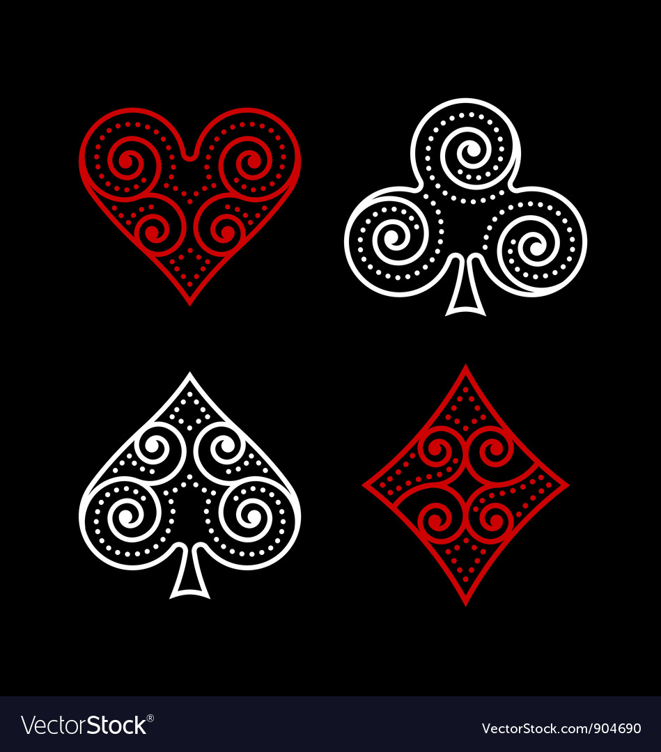 Ornamental poker symbols vector | Price: 1 Credit (USD $1)
