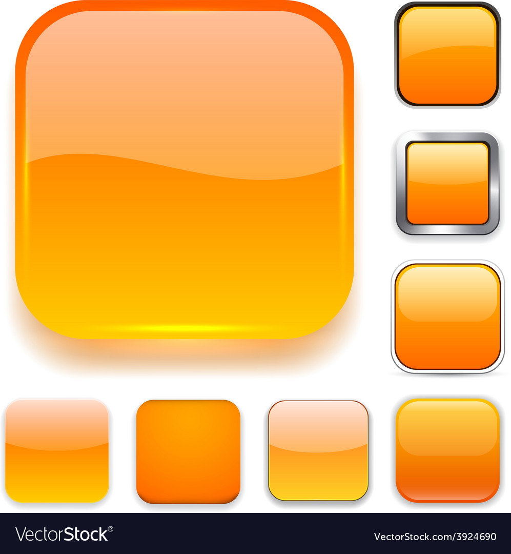 Square orange app icons vector | Price: 1 Credit (USD $1)