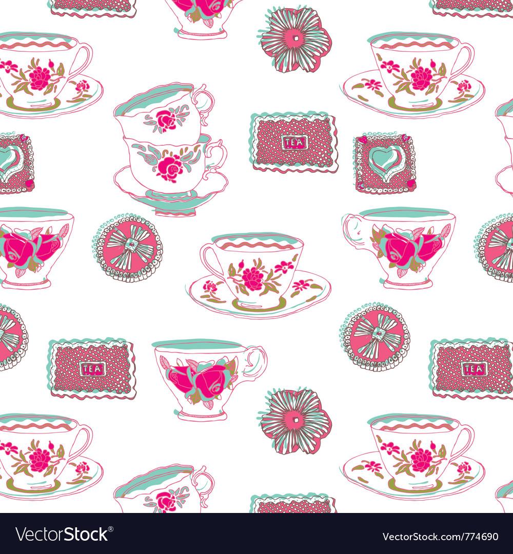 Tea cup wallpaper vector | Price: 1 Credit (USD $1)