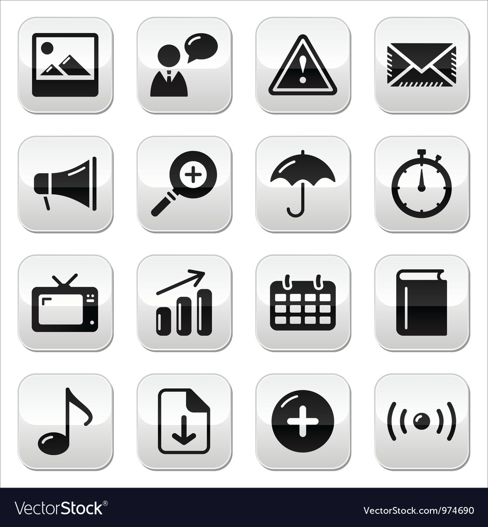 Website internet glossy sqaure buttons set vector | Price: 1 Credit (USD $1)